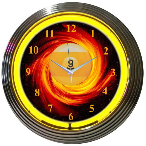 Nine on Fire Neon Clock