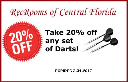 Print Coupon for 20% off any set of Darts!
