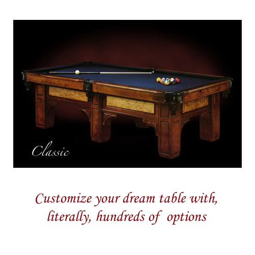Customize your dream table with, literally, hundreds of  options