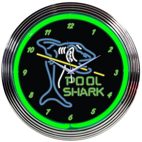 Pool Shark Neon Clock